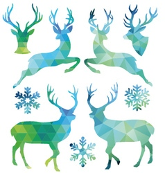 Geometric Christmas deer set vector image