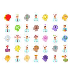 human idea icon set cartoon style vector image