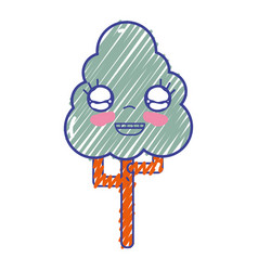 Kawaii cute happy tree ecology vector