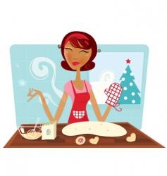 Christmas woman baking cookies vector image vector image