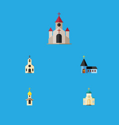 flat icon church set of structure religious vector image