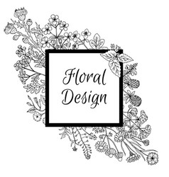 frame decorated with hand drawn flowers in graphic vector image vector image