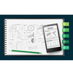 Notebook paper with drawing business plan vector image vector image