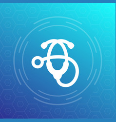 Stethoscope icon therapist physician medical ward vector