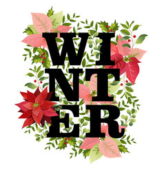 christmas design in winter poinsettia vector image vector image
