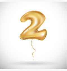 gold balloon font part of number two 2 couple vector image vector image