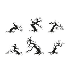 silhouette of the old broken tree vector image vector image