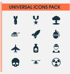 warfare icons set collection of military danger vector image vector image