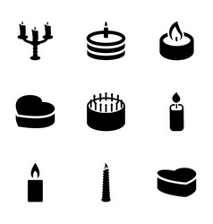 9 candle icons vector image