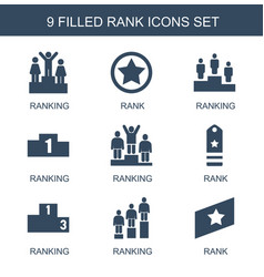9 rank icons vector