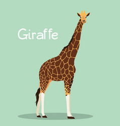 A tall giraffe design on green background vector