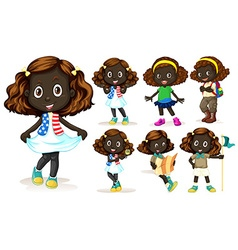 African American girl doing different activities vector image