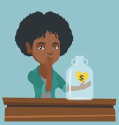 African broke woman looking at empty money box vector