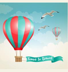 air balloon and birds vector image vector image