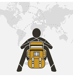 Backpacker sit relax on world map vector image