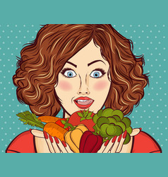 Beautiful red-haired lady with vegetables in his vector