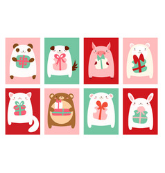 Birthday banners with cute animals vector