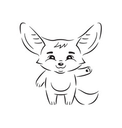 Black and white smiling fennec fox who swings vector