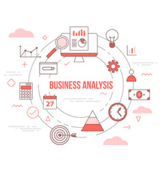Business analysis concept with icon set template vector