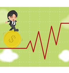 Business Man Walk Gymnastics Risky Stock Market vector