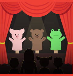 Children puppet theater performance with animals vector