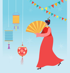 chinese lunar new year carnival people vector image