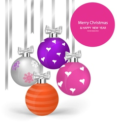 Christmas balls with ribbon and bow vector image