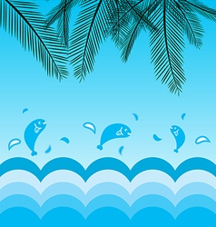 Coconut leafs and sea background vector