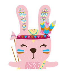 Colorful cute rabbit animal with arrows and vector