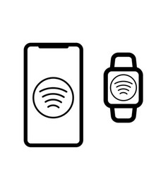 Contactless payment icon card phone watch vector