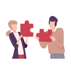 Couple in love connecting puzzle elements people vector
