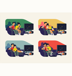 couple watching tv series flat character design vector image