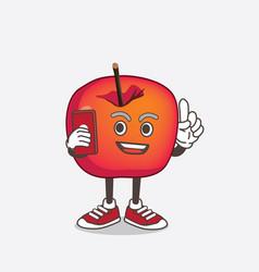 crab apple cartoon mascot character speaking vector image