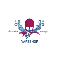 Creative logo for vape shop Man in the hood with t vector