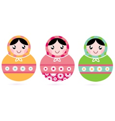 Cute floral colorful matryoshka set vector