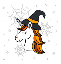 Cute halloween unicorn portrait with witch hat vector