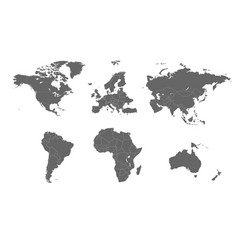 Detailed world map divided into continents vector