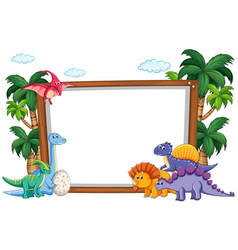 Dinosaur on blank template vector