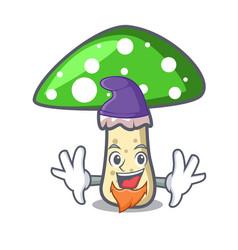 elf green amanita mushroom character cartoon vector image