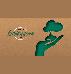 environment day banner cutout hand with tree vector image