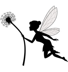 Fairy holding dandelion vector