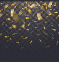 falling golden confetti isolated on transparent vector image