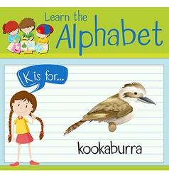 Flashcard alphabet K is for kookaburra vector