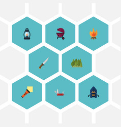 Flat icons hunting cutter ship barbecue and vector