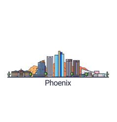 flat line phoenix banner vector image