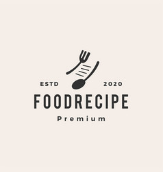 food recipe hipster vintage logo icon vector image