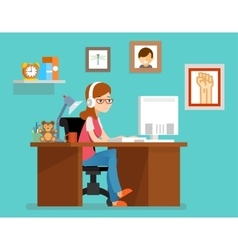 Freelance woman working at home with computer vector