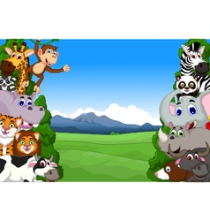 Funny animal cartoon collection in the jungle vector