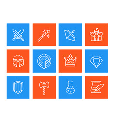 game icons set swords magic wand bow fortress vector image
