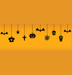 halloween hanging ornaments on orange background vector image